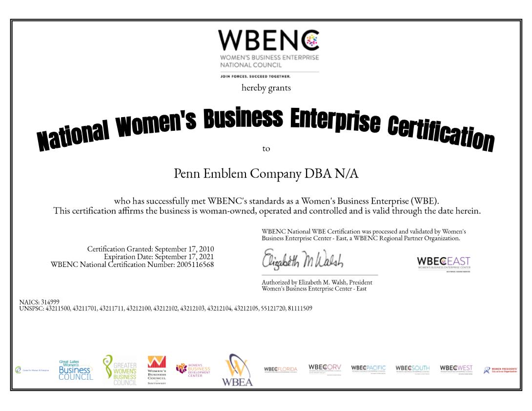 blog - Penn Emblem Receives WBENC  Recertification for 2020-2021